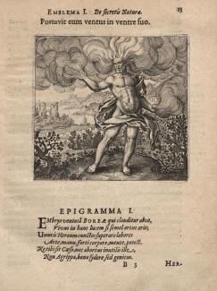 Matthias Merian - Boreas - Atalanta Fugiens (1616)