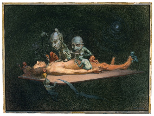 Richard Tennant Cooper - An unconscious naked man lying on a table being attacked by little demons armed with surgical instruments; symbolising the effect of chloroform on the human body