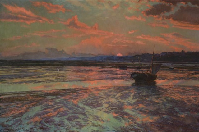 Charles Ernest Butler - Sunset at Low Tide, Westcliff on Sea (1932)