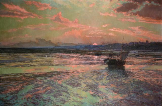 Charles Ernest Butler - Sunset at Low Tide, Westcliff-on-Sea (1932)