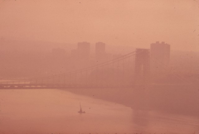 chester higgins - epa photo - the george washington bridge in heavy smog. view toward the new jersey side of the hudson river (may 1973)