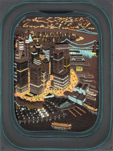 yvonne jacquette - a glimpse of lower manhattan (night) (1986)