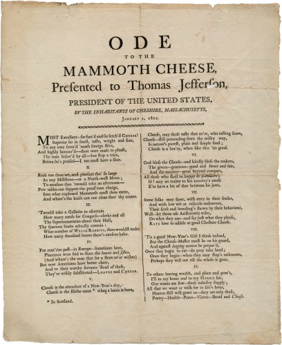 Ode to the Mammoth Cheese (1802)