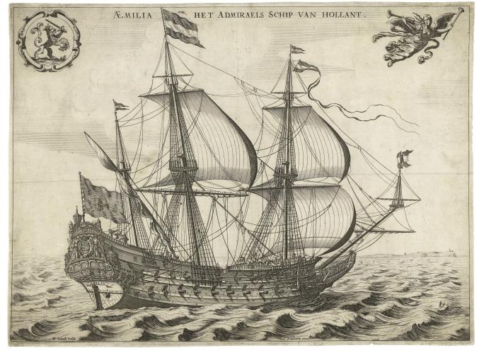 Willem van de Velde - Aemilia, het vlaggenschip van Tromp (ca. 1639)