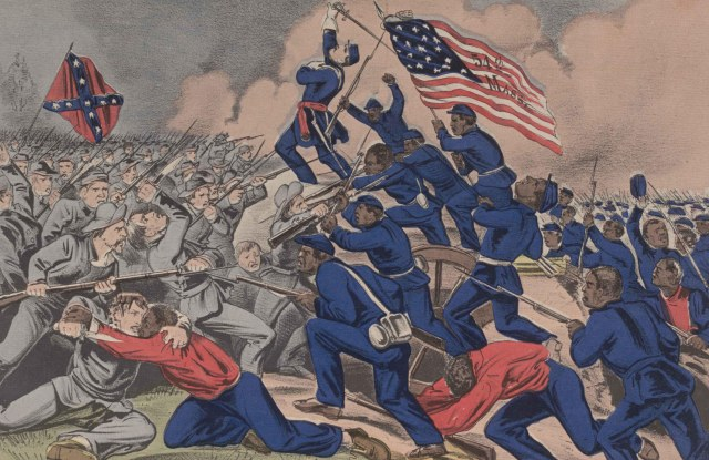 Currier & Ives - The Gallant Charge of the Fifty Fourth Massachusetts (Colored) Regiment (1863)