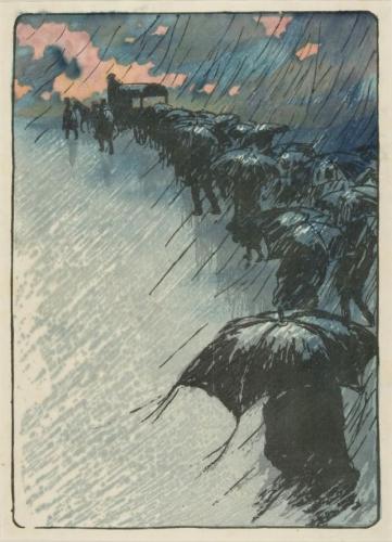 Henri Rivière - Funeral Under Umbrellas (1891)