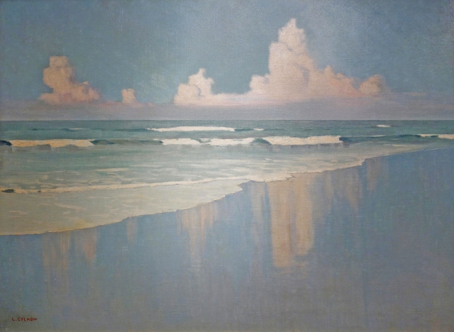 Ludwik Cylkow - Beach Scene with Waves and Clouds (c 1920)