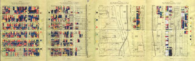 Samuel Sewell Greeley - Wage Map No. 1-4, Polk St. to Twelfth, Chicago (1895)