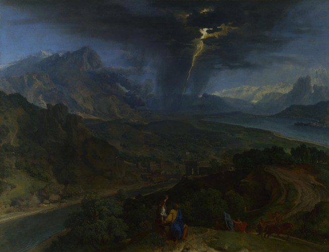 Francisque Millet - Mountain Landscape with Lightning (c. 1675)