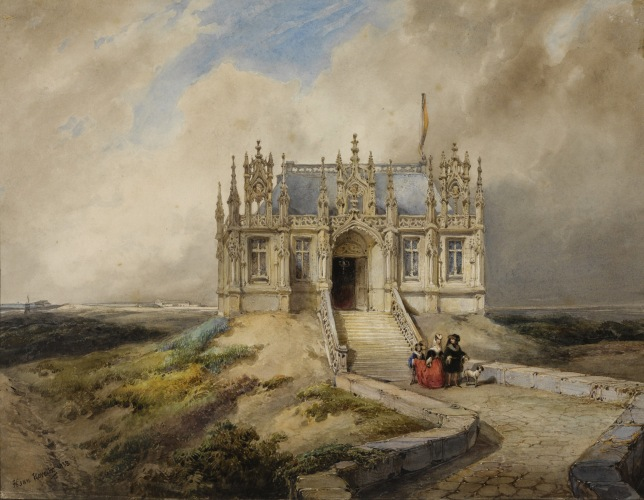 Hubertus van Hove - A Couple in Front of a Gothic Building (1838)