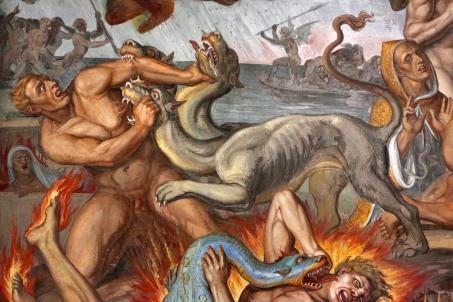 Joseph Anton Koch - Inferno (1825-28) [detail - Cerberus]