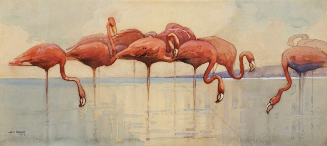 Sydney Long - Flamingos (1917)