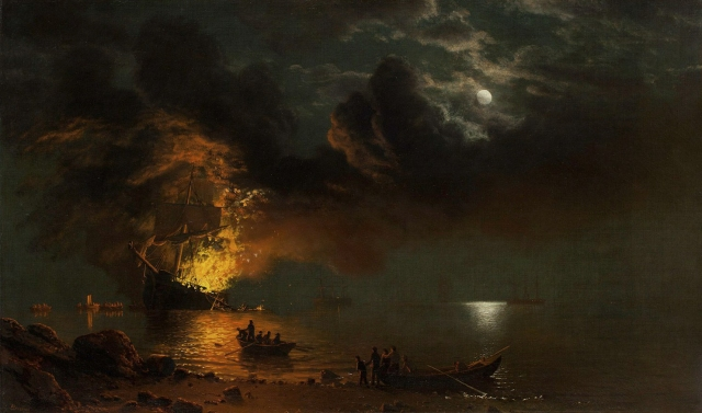 Albert Bierstadt - The Burning Ship (ca 1871)