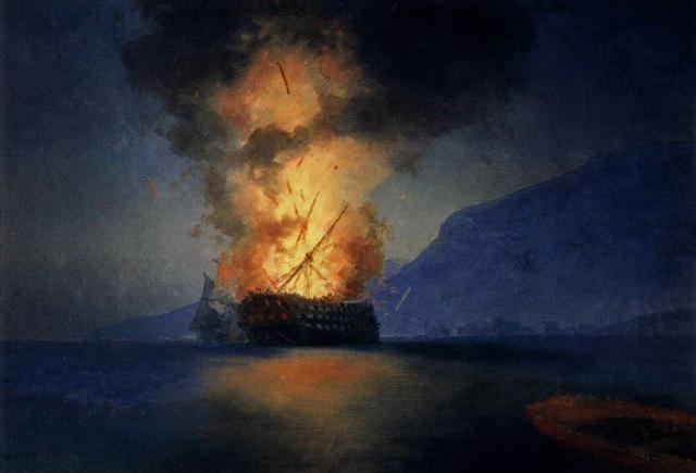 Ivan Constantinovich Aivazovsky - Exploding Ship (1900)