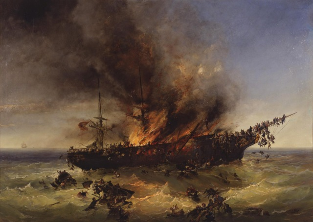 Josef Püttner - Sinking of the emigrant ship Austria on 13th September 1858 (1858)
