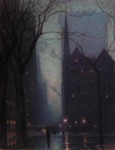 Birge Harrison - Fifth Avenue at Twilight (ca. 1910)