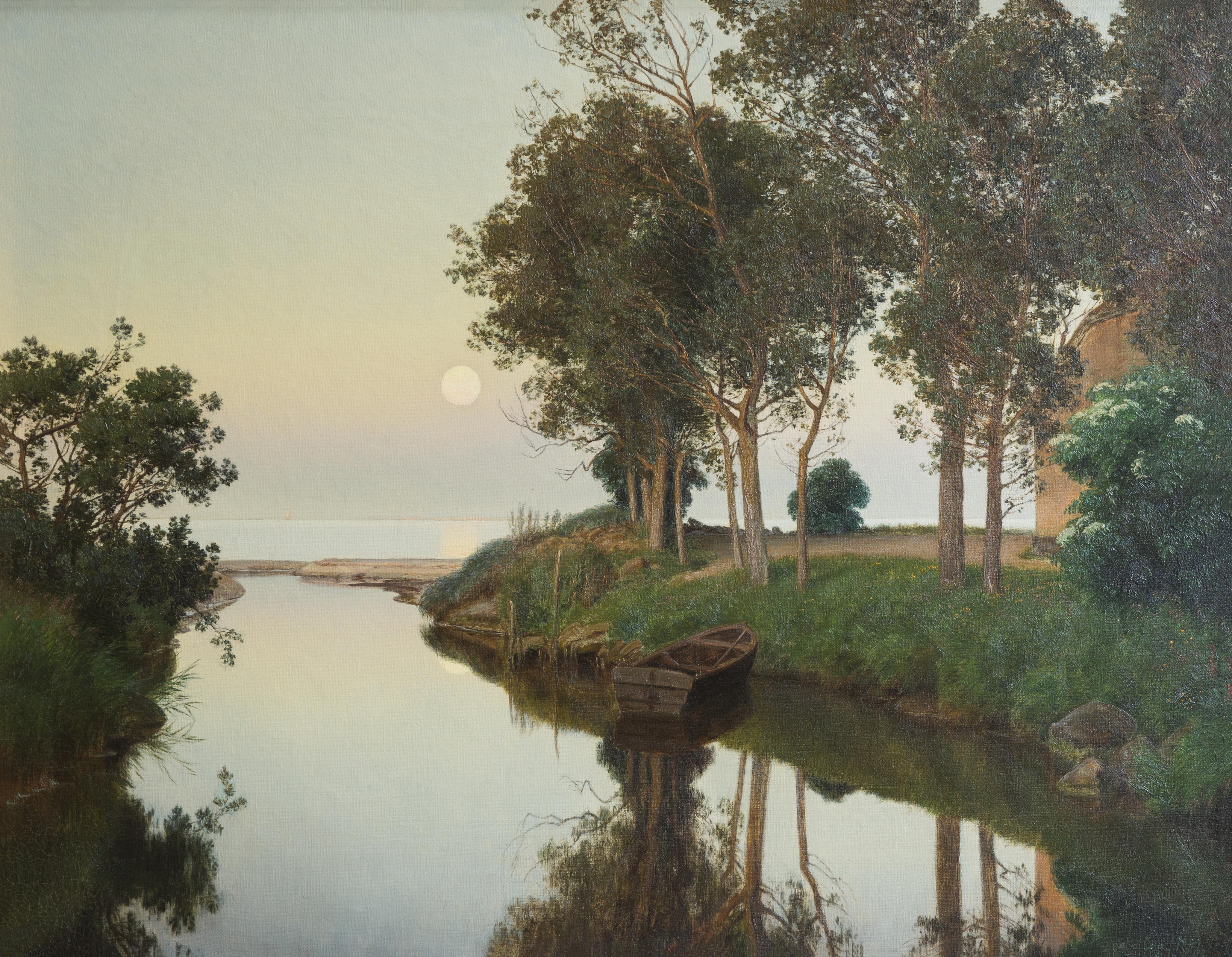 Janus La Cour - Quiet Summer Evening by the River Mouth (1892)