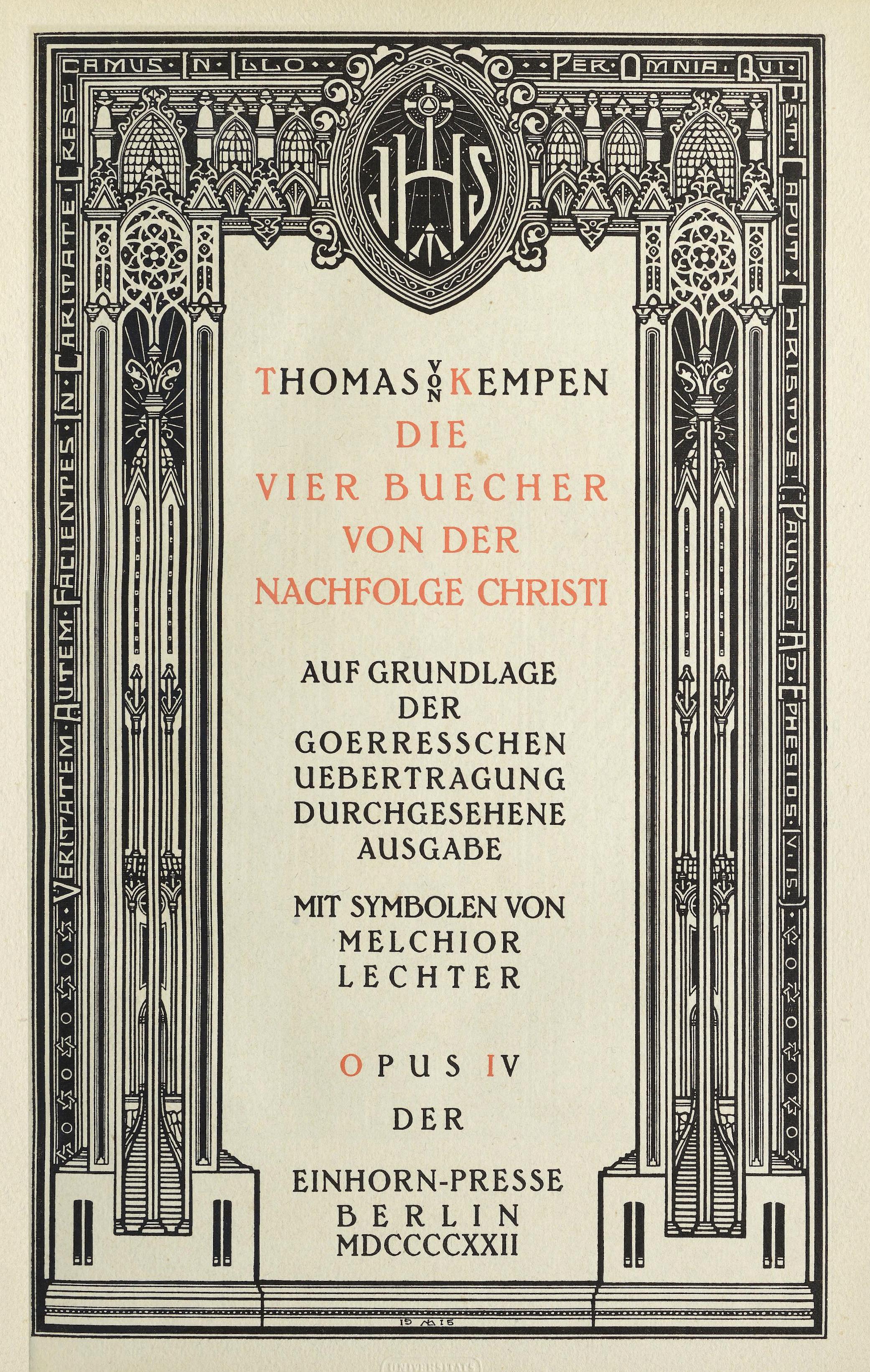 Melchior Lechter - Die vier Bücher von der Nachfolge Christi (1922) p 7