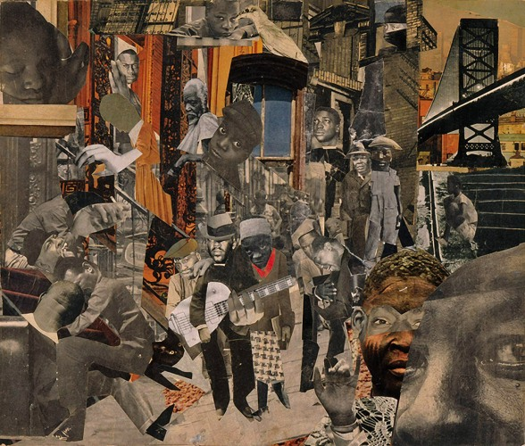 Romare Bearden: <i>The Street</i>, 12 7/8 x 15 3/8 inches, 1964; from Bearden's 'Projections' series