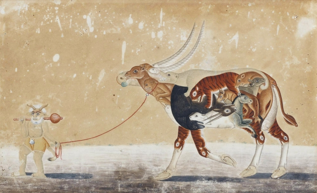 A Composite Ox with a Demon Groom (India, ca. 1810-30)