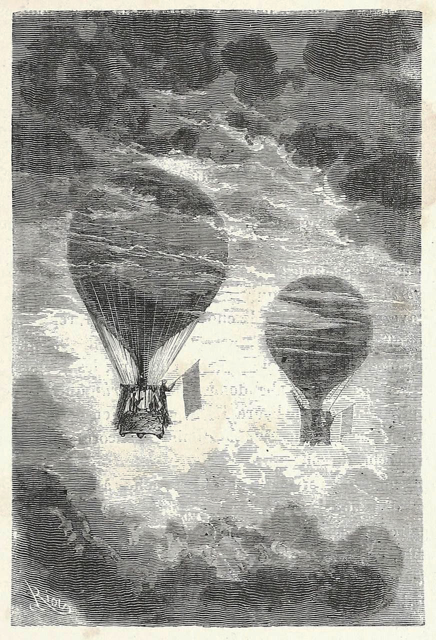 Five weeks in a Balloon - Illustration by Edouard Riou (Paris, 1867)