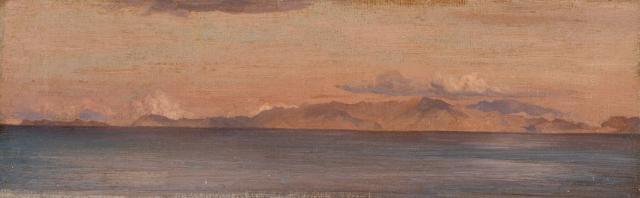Frederick Leighton - Distant View of Mountains in the Aegean Sea (1867)