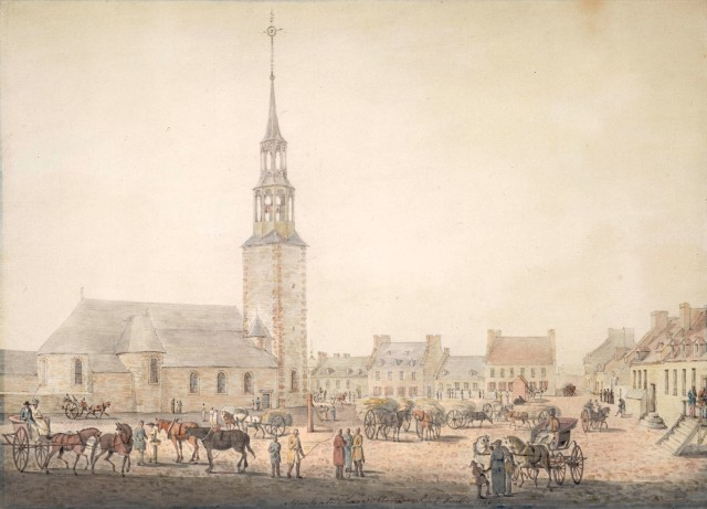 Paul Sandby, Jr. - The Marketplace, Montréal [The old Notre Dame Church in Place d'Armes, Montreal] (ca. 1790)