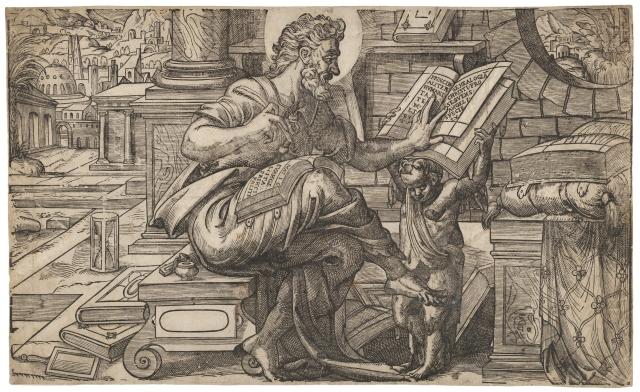 Anthony van Leest (After Rue de Montorgueil) - Saint Matthew seated and reading from a book held by a putto, set within a fanciful architectural backdrop (1565-1575)