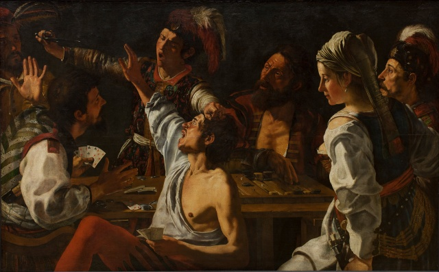 Theodoor Rombouts - Card and Backgammon Players Fight over Cards (1620-1629)