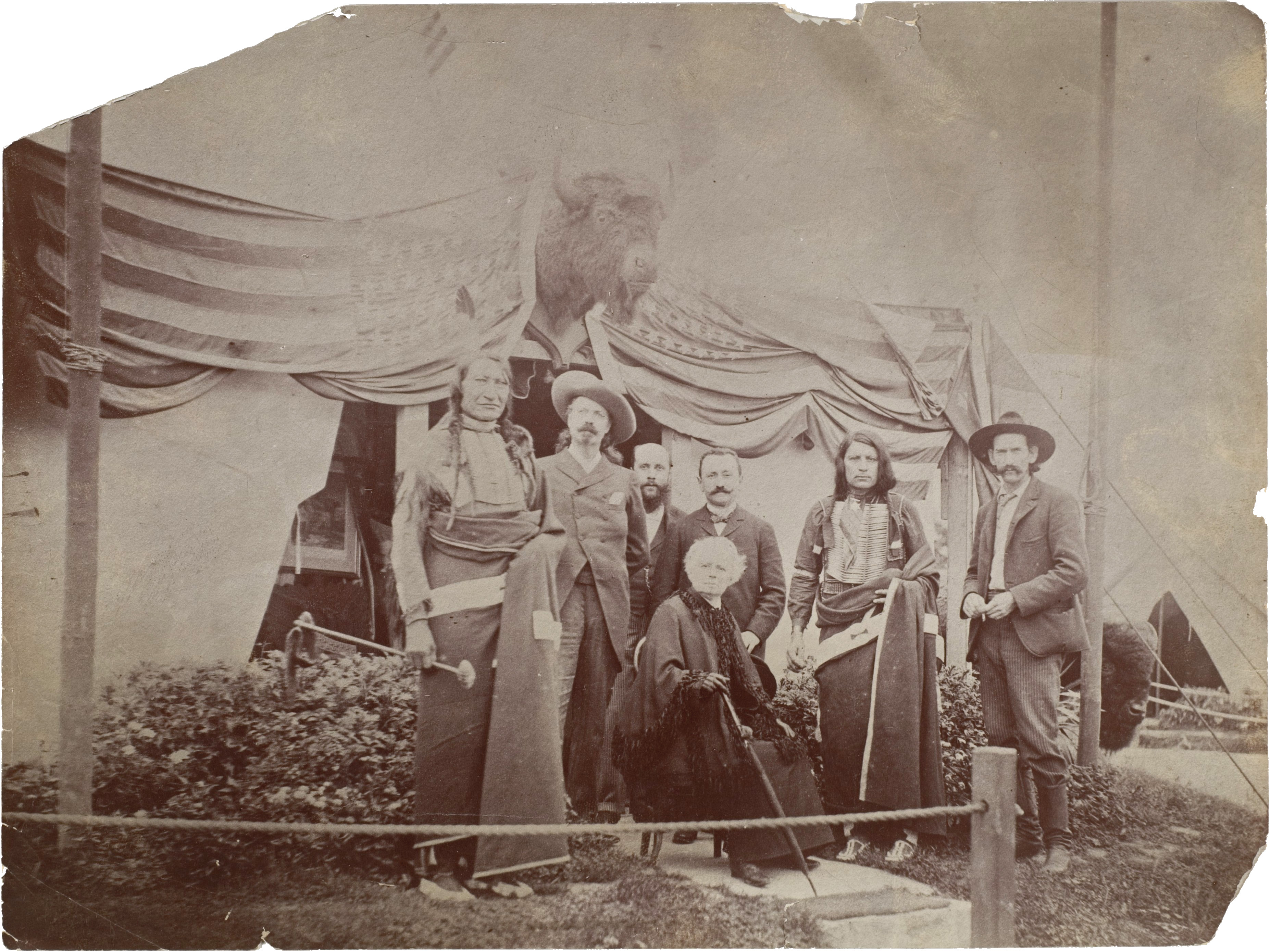 William F. Buffalo Bill Cody, Rosa Bonheur, Chief Rocky Bear, Chief Red Shirt, William Broncho Bill Irving, Roland Knoedler, and Benjamin Tedesco at the Paris Exposition Universelle (1889)