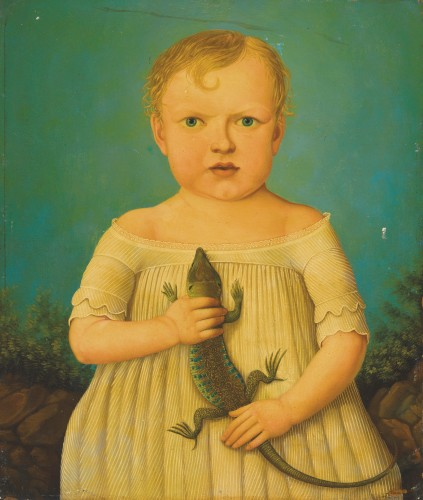 American School (maybe) - A Child holding a Lizard (19th-20th Century)